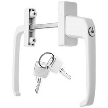 Ручка балконная (ассиметричная) двусторонняя с ключом, белая